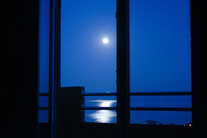 Stunning moonlight view from apartment.Mooon is raising over island Hvar
